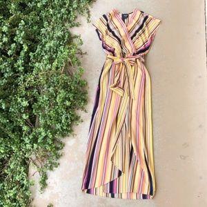 ECI Nordstrom Faux Wrap Striped Maxi Dress